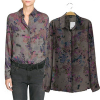 Ink Painting Print Shirt Collar Long Sleeve Blouse