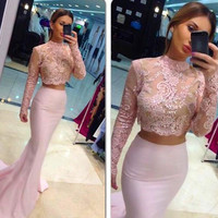 Baby Pink Elegant Two Piece Prom Dress with Long Sleeve