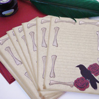 Raven and rose Victorian stationery writing set