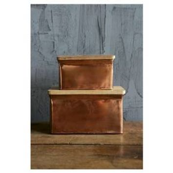 """Aluminum Boxes with Wood Lid Copper Finish (2 8"""") : Target"""