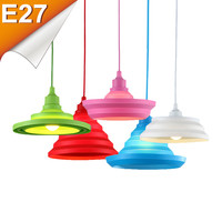 Plastic Pendant Lights Colorful E27 Home Wire Base Flexible Shape Silica Gel Hanging Ceiling Lamp Pendant Decoration Lighting