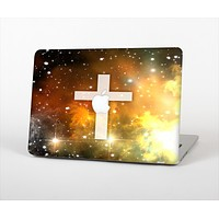 "The Vector White Cross v2 over Yellow Nebula Skin Set for the Apple MacBook Pro 13"" with Retina Display"