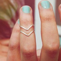 Silver Set of Two Chevron Stackable Knuckle Rings