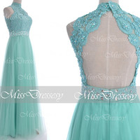 Mint Prom Dresses, 2014 Prom Gown, Straps Long Mint Lace Tulle Formal Dresses, Long Prom Dresses, Mint Wedding Dresses