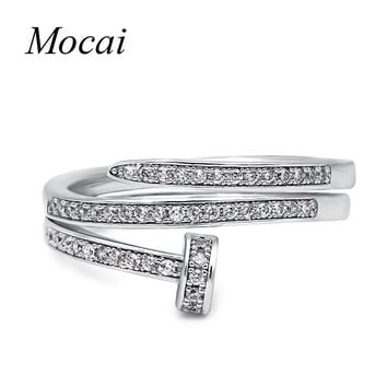 Mochai Punk Style AAA Zirconia Double Layer Nail Rings Holder Fashion Adjustable Lord Of Ring Jewelry For Women Gift ZK30