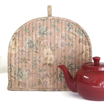 Tea Cozy, Quilted Floral Tea Cozy, Muted Pink Teapot Cover, Insulated Tea Cozy, Cottage Chic, Summer Teapot Warmer, Quiltsy Handmade
