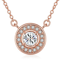 Rose Gold Plated Circular Crystal * Pendant Necklace