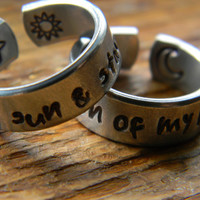 My sun and stars moon of my life pair of cuff style  rings