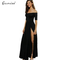 Gamiss Summer Women Off Shoulder One Slash Women High Open Slit Club Long Dress Solid Black color Elegant Sheath Maxi Dress