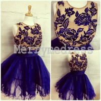 Dark Royal Blue Lace Applique Sheer Straps Ball Gown Short Celebrity Dress, Mini Tulle Formal Evening Party Prom Dress New Homecoming Dress