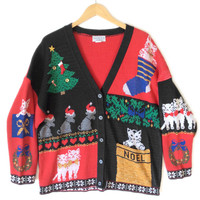 Vintage 80s Kitty In My Pocket Cat Lady Ugly Christmas Sweater