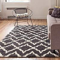 Lattice Links Modern Geometric Trellis 3x5 ( 3'3'' x 5'3'' ) Area Rug Grey Ivory Plush Shag Easy Care Thick Soft Plush Living Room