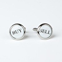 Rhodium Plated Buy & Sell Cufflinks with Engraved Box