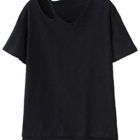 Black Ripped Short Sleeve T-shirt