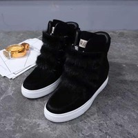 UGG Australia winter new ladies imported cattle suede warm low tube snow boots / black