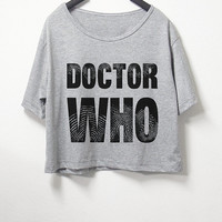 Doctor who,crop top, grey color, women crop shirt, screenprint tshirt, graphic tee,[ S/M ] , L size