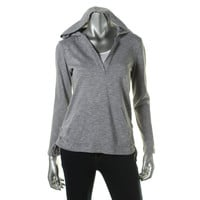 Style & Co. Womens Petites Striped Hooded Pullover Top