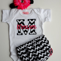 Chevron Personalized Baby Girl Clothes Newborn Gril Take Home Outfit One-Piece Diaper Cover Headband Gift Set Monogrammed Baby Girl Outfit