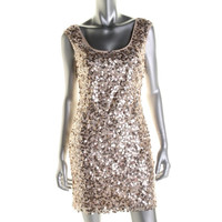 Guess Womens Lori Paillettes Sleeveless Cocktail Dress