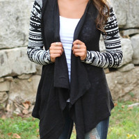 Black Geometric Pattern Cardigan