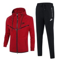 MDIGV9O Nike Fashion Casual Men Cardigan Jacket Coat Pants Trousers Set Two-Piece Red