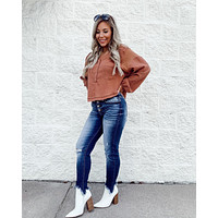 Down To Earth Button Top (Rust)
