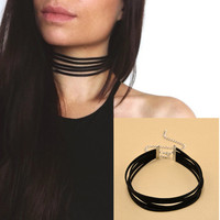 Harajuku 90's Black Velvet Choker Necklace 5 layers Goth Gothic Handmade Ribbon Collar Necklaces Retro Burlesque Free Shipping - free shipping worldwide