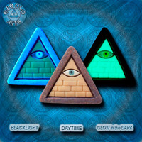 EyeGloArts GLOW in the dark jewelry Illuminati all seeing eye pyramid pendant in gray and gold clubwear blacklight Psytrance rave candy