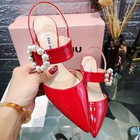MIU MIU New Women Sexy Pointed Pearl Sandals Shoes High Heels Red