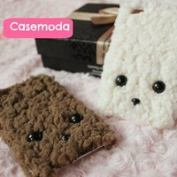 New Cute Plush Wool Puppy Face iPhone 4/4S Case Cover