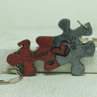 Mother and Son Pieces Interlocking Puzzle Key chains painted Leather Made To Order
