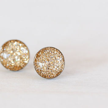 Champagne Sparkle Post Earrings - Hypoallergenic Studs