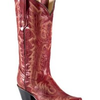 Corral Ladies Red w/ Tall Top Fancy Stitch Snip Toe Western Boots