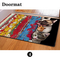 Cute Peep Kitten Puppy Printed Personalized Entrance Funny Mat Indoor Dog Cat Doormat Area Rug Living Room Decor