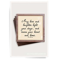 May Love & Laughter Copper & Glass Coasters, Set of 4