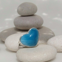 Larimar heart ring, Deeply Passionately Blue - bright space blue AAA Larimar love stone - US 5