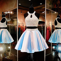 Two Pieces Homecoming Cocktail Graduation Dress Pageant Party Formal Prom Gown