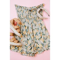 Let Me Adore You Romper, Taupe/Yellow