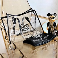 Wearwinds Balenciaga transparent Tote white flower jelly bag colorful material black edge