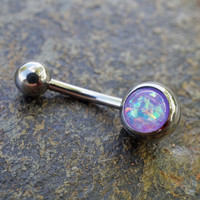 Purple Opal Belly Button Ring Synthetic Opal