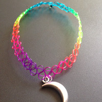 Rainbow 90s tattoo moon choker necklace