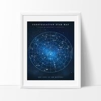 Constellation Star Map Watercolor Art Print