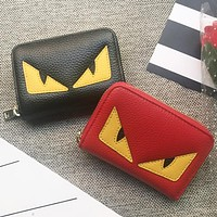 Fendi Fashion New Eye Women Men Personality Leather Wallet Purse
