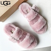 UGG New fashion fur flats sandals couple slipper shoes Pink