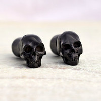Carved Skull Black Wood Fake Plugs Earrings Tribal Fake Gauge Earrings - Gauges Plugs Bone Horn - FP003 DW ALL