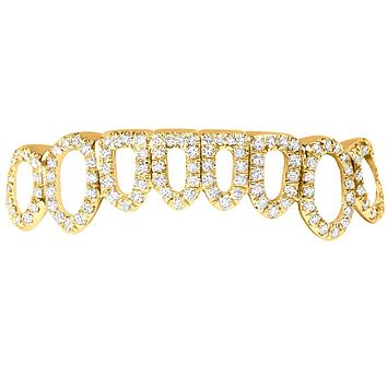 Custom Cut Out Open Face Diamonds Icy 10K Gold Grillz