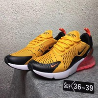 Nike Air Max 270 Trending Women Leisure Running Sneakers Sport Shoes Pink Yellow I