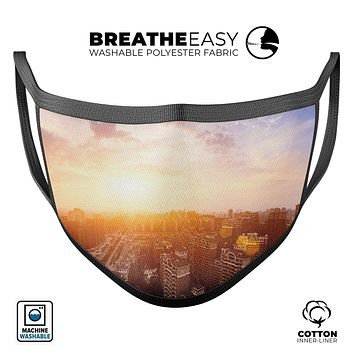 Cityscape at Sunset - Made in USA Mouth Cover Unisex Anti-Dust Cotton Blend Reusable & Washable Face Mask with Adjustable Sizing for Adult or Child