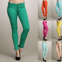 Womens Colored Slim SKINNY JEANS Pencil STRETCH Cotton Pants Casual Low Waist