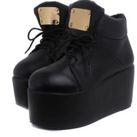 Chic Womens Shoes Thicken Sole High Heels Platform Lace Up Punk Creeper Boots SZ